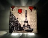 Hot Air Balloons Over Paris Repurposed Vintage Dictionary Light Box Night Lights