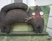 Primitive Halloween Black Cat Shelf Sitter