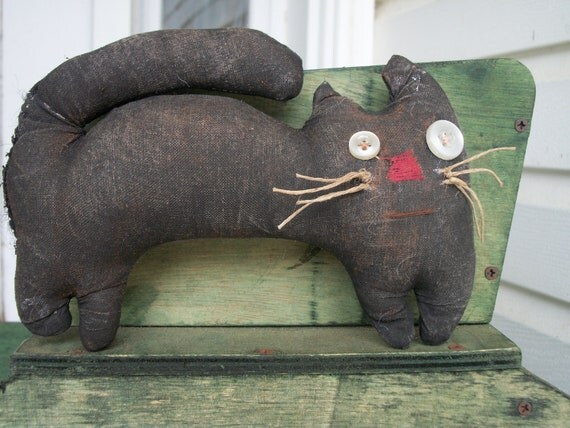 Primitive Halloween Black Cat Shelf Sitter
