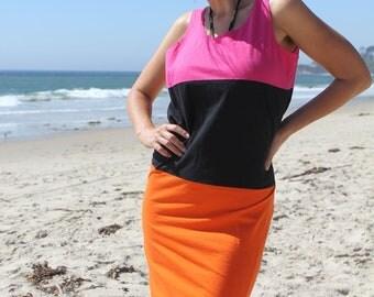 Mod Bod - Vintage 90s Mini Sleeveless Color Block Dress, Gitano, Medium