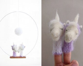 BABY CRIB MOBILE, Unicorn Finger Puppets, Nursery Art or Home Decor and a Soft, Eco Friendly Toy for Children and Babies