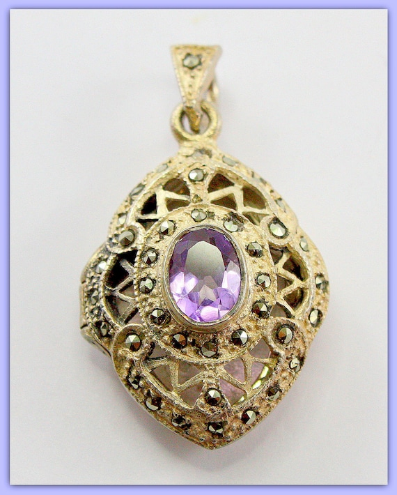925 Silver Locket, Victorian Necklace Pendant, Art Nouveau, Filagree with Marcasites and Amethyst Gemstone. Antique Jewelry.