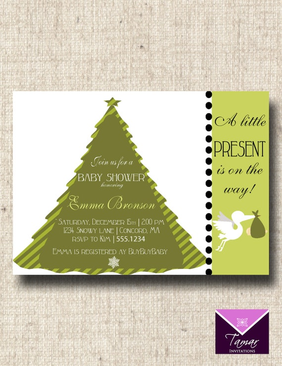 Printable Chirstmas Baby Shower Invitation - Cute Little Present - Great for Winter, Holiday or Christmas theme showers