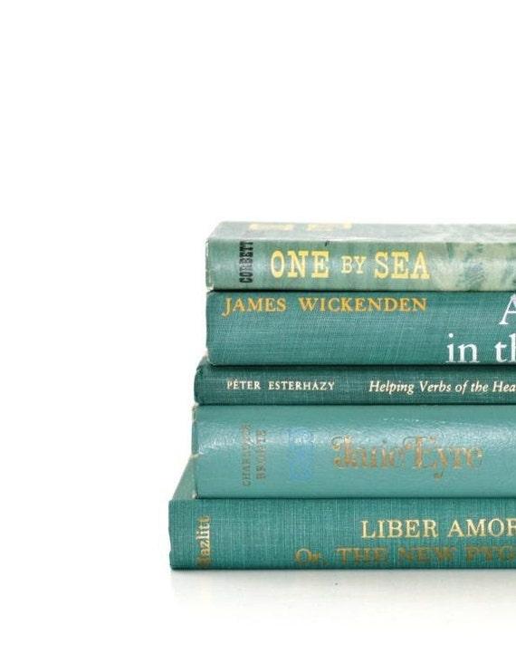 Seafoam Green 5 Book Collection Interior Design Vintage Book Decor