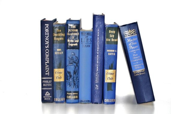 Vintage Cobalt Blue 7 Book Collection Interior Design Vintage Book Decor