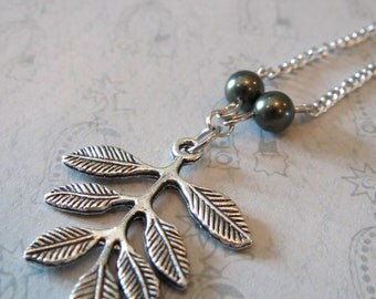 Silver Tree Branch Necklace with dark green pearls