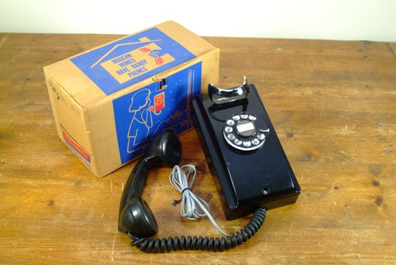Antique Black Western Electric Rotary Wall Phone from the 1950's