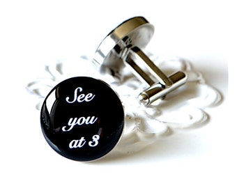 See you at 3 script font  cufflinks, timeless mens jewelry keepsake gift, classic cuff link accessories