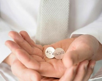 5X SETS Personalized handstamped cufflinks - you heart me keepsake cufflinks for the groom and groomsmen