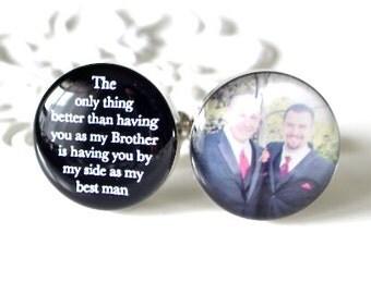 Brother of the Groom photo cufflinks  - wedding day keepsake gift for the groomsmen