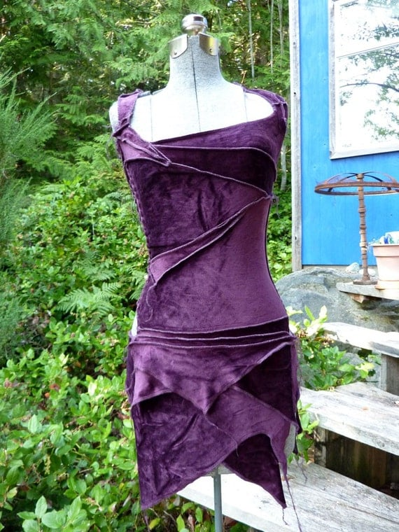 PURPLE ooak bamboo velour mini asymmetrical faerie dress