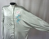 Vintage Silk Blouse / Silver Silk Embroidered Asian Blouse