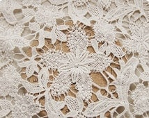 Ecru  Wedding Lace Fabric Chic Solid Lace Fabric Supplies, Bridal Lace Fabric, fabric  by yard