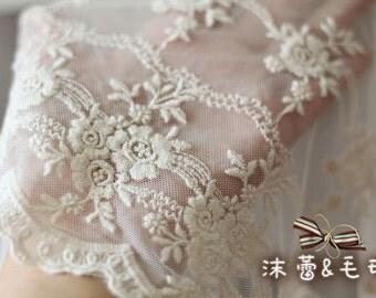 Vintage Lace Trim ,Scalloped Cotton Embroidered Lace Fabric Trim Exquisite Beige Floral Lace Trim