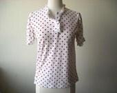 Vintage White and Red Polka Dot Shirt