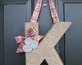 Chevron and Jute Monogram Wreath, Handmade Jute Letter. Twine Letter. Jute Wreath. Jute door hanger. Letter Door Hanger.