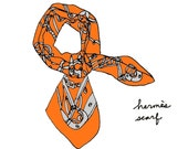 Hermes Scarf - 8x10 Illustration Art Print