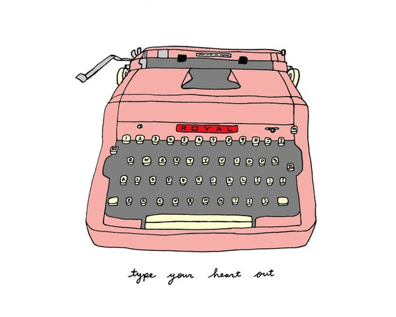 Vintage Typewriter - 5x7 Illustration Art Print