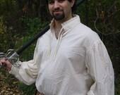 Men's Cream Cotton Renaissance Shirt Size Large READY TO SHIP!