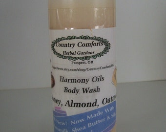 Honey, Almond, Oatmeal Natural Body Wash - Shea Butter, Goats Milk, Hydrolized Oats & Silk Protein Conditioners - 4 oz bottle