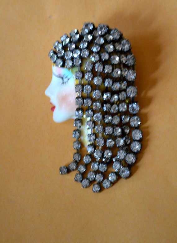 Vintage Flapper Girl Brooch, Made with Porcelain & Clear Rhinestones, Half Off Sale