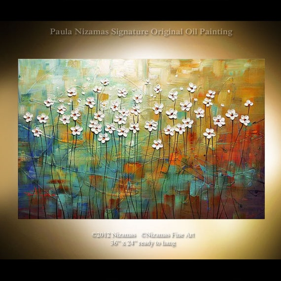 Original Modern contemporary Palette Knife Textured Fine Art Wild Daisies floral fine art by P. Nizamas 36
