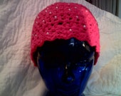 YUMMY...CLEARANCE Hot Pink and Pearls Crocheted Beanie w/ Scalloped Edge SMLX