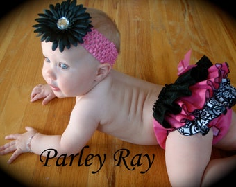 Beautiful Parley Ray Hot Pink & Black Ruffled Baby Bloomers / Diaper Cover / Photo Props