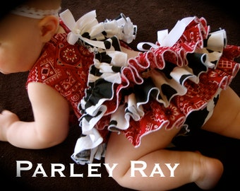 Parley Ray Western Cowgirl Cow Print Pinafore Dress with Ruffled Baby Bloomers/ Ruffle Diaper Cover Pageants Photo Props