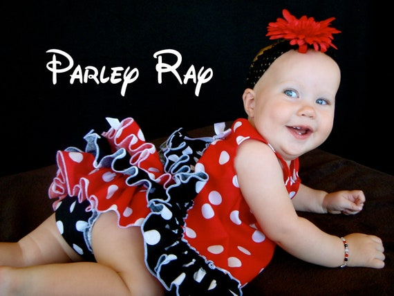 Beautiful Parley Ray Minnie Mouse Red Polka Dots Pinafore, Ruffled Baby Bloomers Diaper Cover / Photo Prop Disneyland