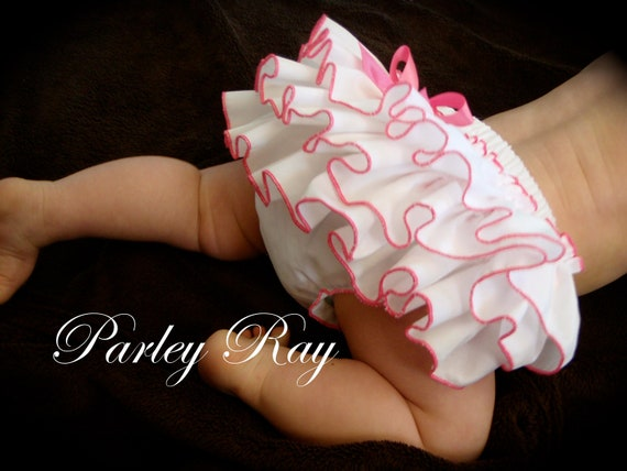 Beautiful Parley Ray Boutique Elegant White with a Colored Edge Ruffled Baby Bloomers / Diaper Cover / Photo Prop