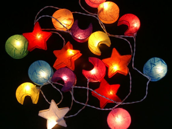 Star Moon String Lights : Mixed Colors Moon star Paper Lantern Wedding/Party by thailights