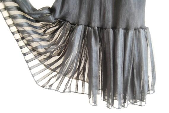 Vintage Black Dress - Stretchy Ballerina Tutu - Sheer or Semi transparent Skirt - XS 6 4 2 0 - Deadstock