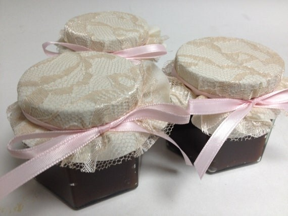 Ivory and Lace with Pink Wedding Favors Hexagon Jars 4 oz with AppleButter