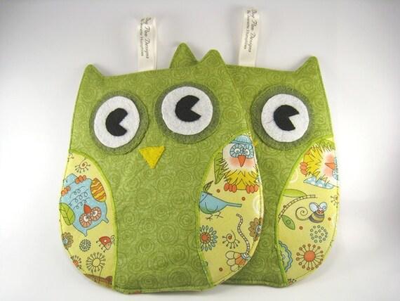 Green Owl Pot Holders for kitchen