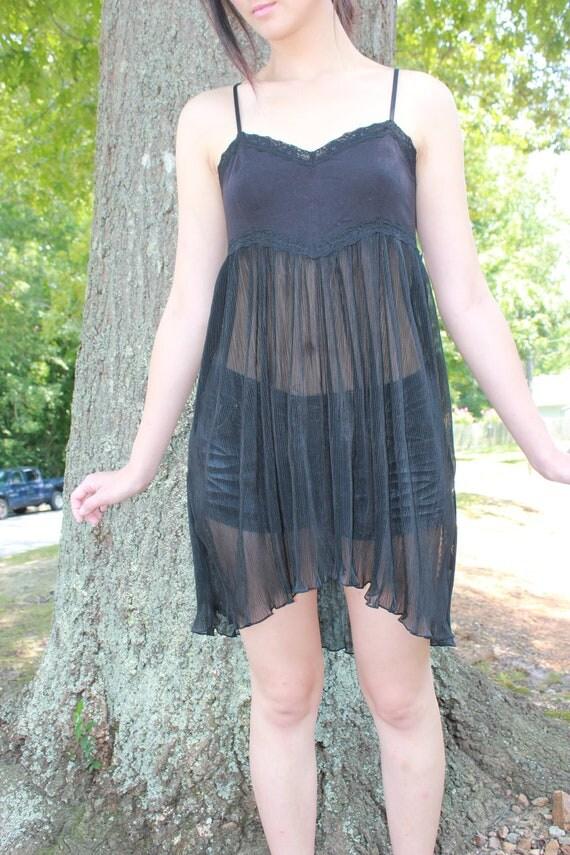 Free People Sheer Black Nightie Nightgown - Small/Medium
