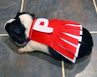 Guinea pig cheerleader. Pet Halloween costumes by la Marmota Café.