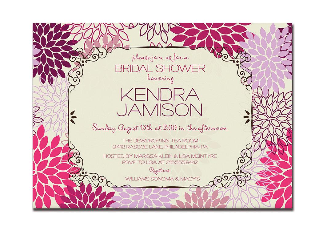Modern bridal shower invitation floral blooms bridal wedding for Modern bridal shower invitations