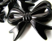 Chunky Beads, 6 big BLACK bow beads, acrylic bubblegum beads, 36mm long, 46mm wide, 9mm thick