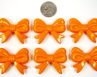6 Chunky Bows, ORANGE bow beads, acrylic bubblegum beads, 36mm long, 46mm wide, 9mm thick