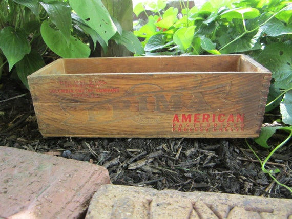 Antique Wood Box Wooden Cheese Box Wood Crate Rustic Display Prima American Large 5lb Box