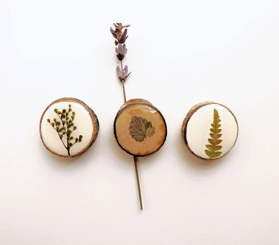 Pressed flower magnets - handmade wood and resin magnets for nature lovers