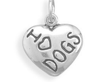 I LOVE DOGS Oxidized Heart Charm - 925 Sterling Silver