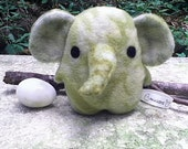 Eggelephant, elephant plush, green, blue, tan, stuffed animal, egg shaped Muser