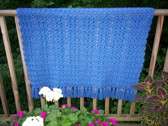 Crochet Double Strand Baby Blanket Pattern : Blue Double Strand Throw. Crocheted Afghan. Lap by ...