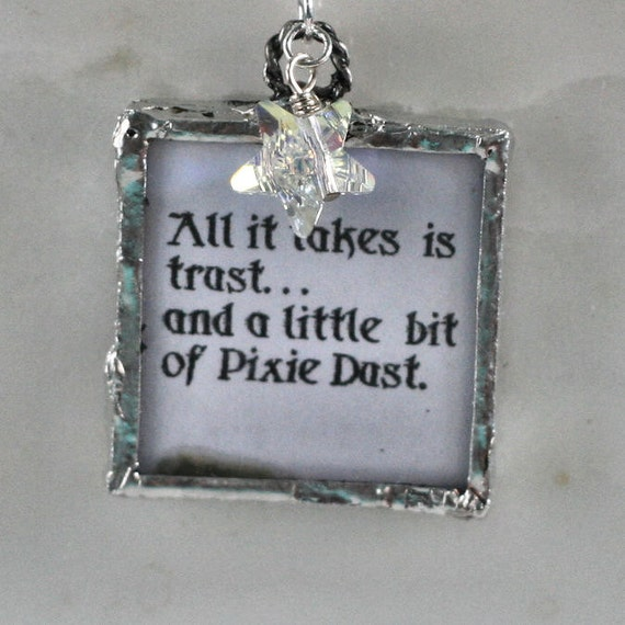 Peter Pan and Tinker Bell Necklace With Pixie Dust.