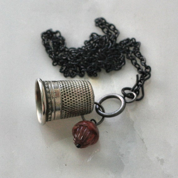 Thimble and Acorn Kisses Necklace Peter Pan and Wendy In Black and Steel
