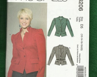 McCalls 6206 Lined Fitted Jacket with Peplum and Standing Collar Sizes 12 to 20 UNCUT