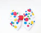 Girls Hair Bow with clip Party dots