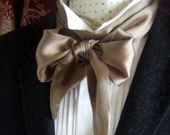 Victorian Bow Tie Cravat Ascot in Walnut Brown Beige 100% Silk Satin